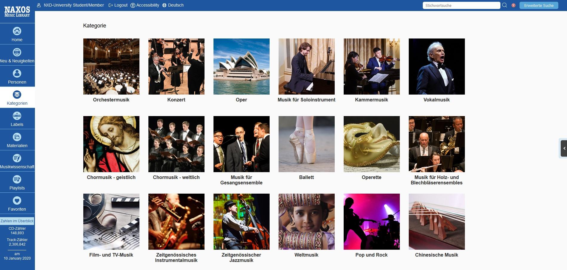 Naxos Music Library - Kategorien